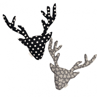 {양면헌팅트로피}]Dot Deer Collection_black dot+grey flower