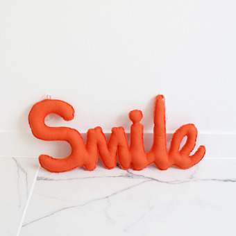 {린넨러브가랜드}Linen SMILE Cushion Garland_Orange