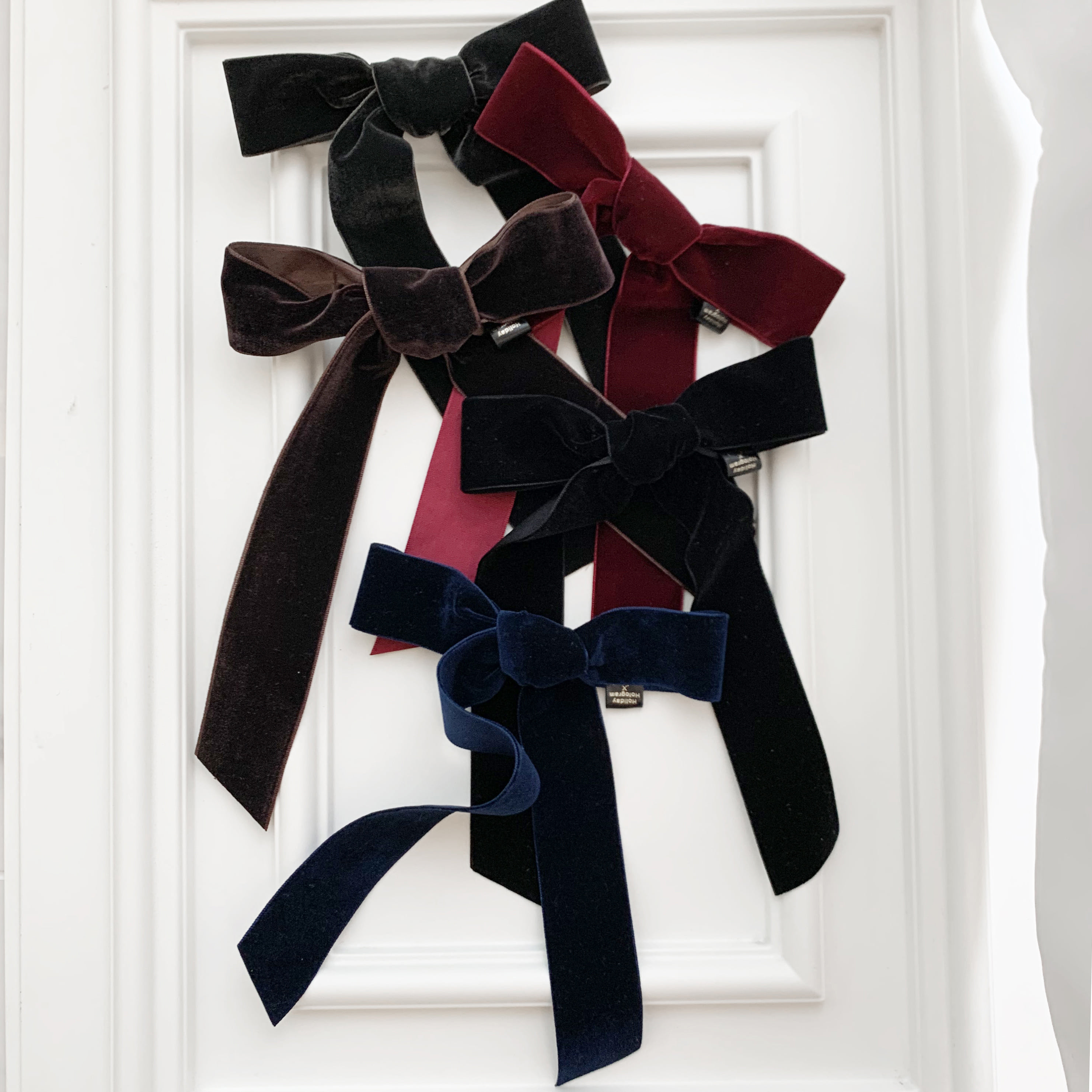 VELVET RIBBON HAIRCLIP(L)_5COLORS 택1
