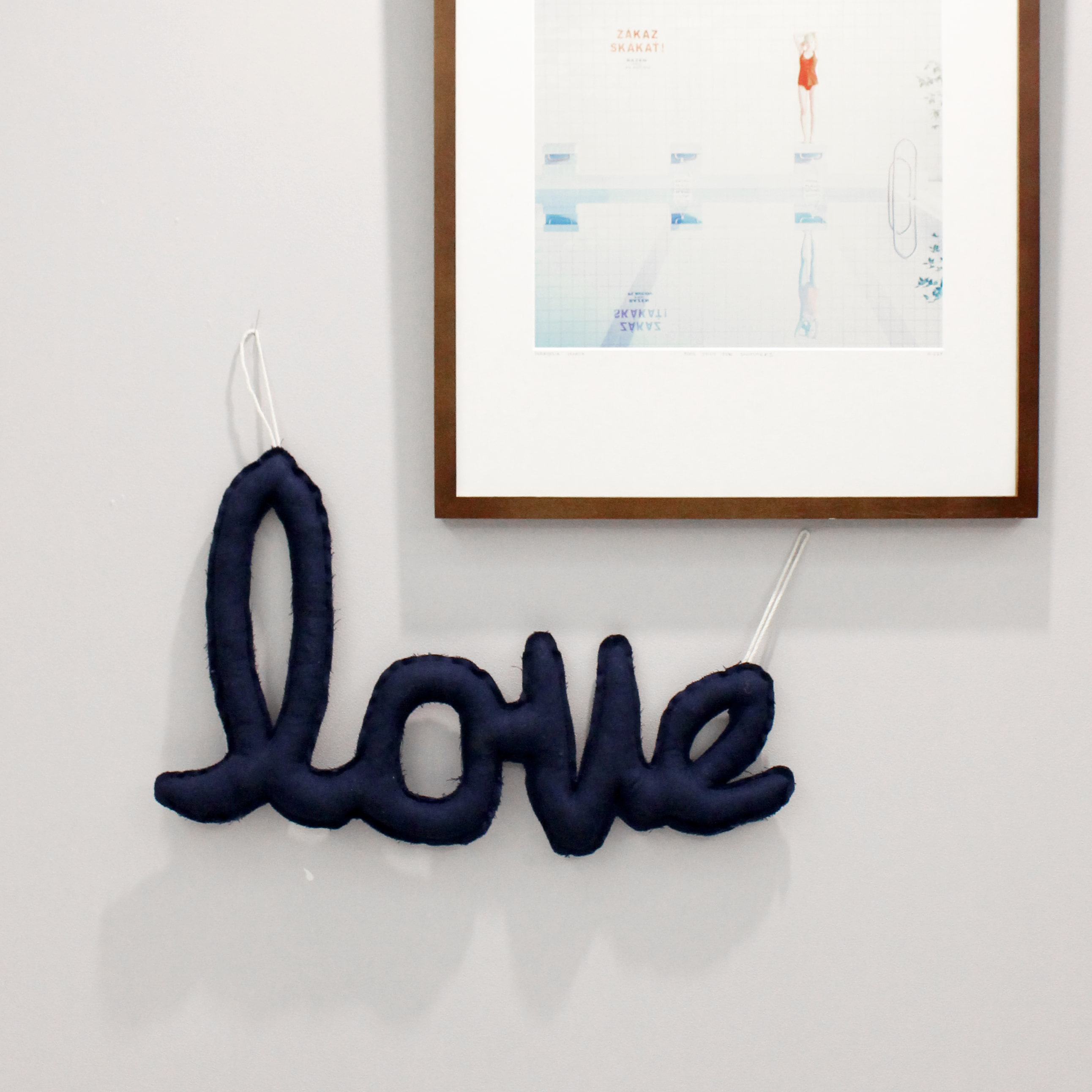 {린넨러브가랜드}Linen LOVE Cushion Garland_navy